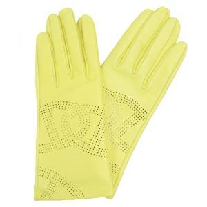 エルメス HERMES エブリン Hパンチング ラムスキン レザーグローブ 手袋 レディース 7 黄 未使用【Z1-3918】|opal-shop1