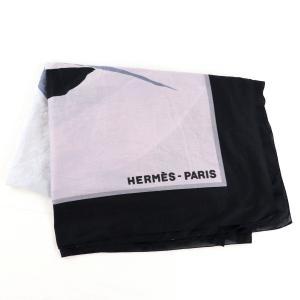 エルメス HERMES コットン 大判ストール ショール スカーフ フランス製 黒×紫系 美品【Z1-3944】|opal-shop1
