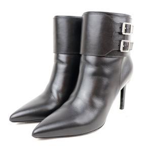サンローランパリ SAINT LAURENT ストラップデザイン ヒールブーティ ショート ブーツ 35.5 黒 美品【S2-3952】|opal-shop1