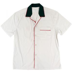 プラダ PRADA バックプリント ボウリングシャツ 半袖 開襟 イタリア製 メンズ M 白【F4-3955】|opal-shop1