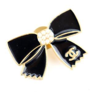 シャネル CHANEL 02A リボン ココマーク ピンブローチ 黒×白×ゴールド【Z5-4027】|opal-shop1