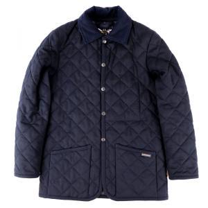 ラベンハム LAVENHAM ウールキルティングジャケット 中綿 メンズ XS ネイビー 美品【I2-4087】|opal-shop1