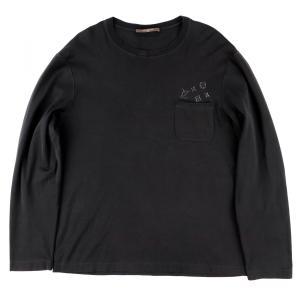 ルイヴィトン Louis Vuitton 08AW モノグラム ポケット ロングTシャツ ロングスリーブカットソー XL 黒 美品 メンズ【I3-4102】|opal-shop1