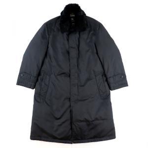 バーバリー ブラックレーベル BURBERRY BLACK LABEL ファー襟付き ステンカラー ダウンコート メンズ 黒 L 【D3-4111】|opal-shop1