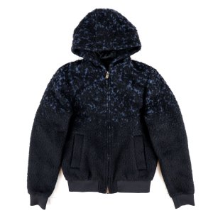 エンポリオアルマーニ EMPORIO ARMANI 2014AW フード付き 中綿 ボアブルゾン ジップアップ ジャケット メンズ 黒 46 美品【D3-4112】|opal-shop1