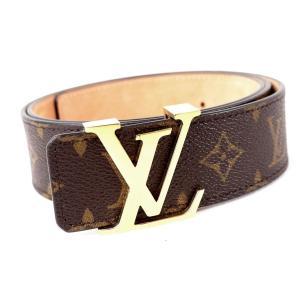 ルイヴィトン Louis Vuitton サンチュール イニシアル ベルト モノグラム LVゴールドバックル 19年製 M9608 95/38 茶 美品【Z2-4185】|opal-shop1