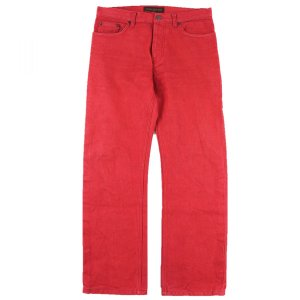 ルイヴィトン Louis Vuitton ストレート カラーデニムパンツ ボタンフライ レザーパッチ メンズ 48 赤【B2-4210】|opal-shop1