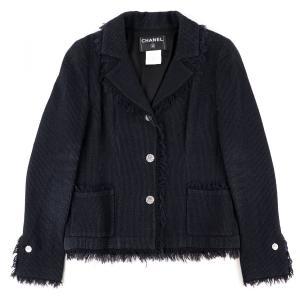 シャネル CHANEL 04P フリンジトリミング シルク混ウール 3Bジャケット ココボタン レディース 36 黒【F4-4264】|opal-shop1