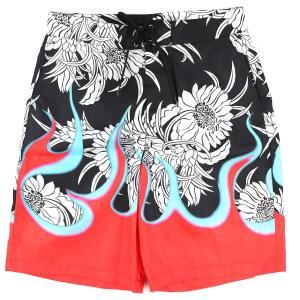 プラダ PRADA 2018SS Garments ハワイアンフレイム スイムパンツ ショーツ 水着 花柄 メタルプレート 黒×マルチ 48 未使用【A4-4309】|opal-shop1