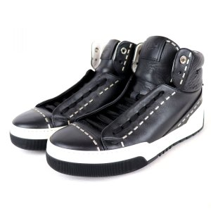 フェンディ FENDI スタッズ ハイカット スニーカー ロゴプレート メンズ 7 黒×白 美品 【Q3-4481】|opal-shop1