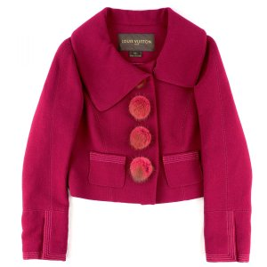 ルイヴィトン LOUIS VUITTON ミンクファーボタン ウール ショートジャケット レディース 34 赤系【D1-4553】|opal-shop1