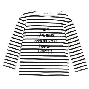 クリスチャンディオール Christian Dior 2018SS コレクション着用 ボーダー ロングスリーブTシャツ カットソー S 白×黒【B2-4582】|opal-shop1