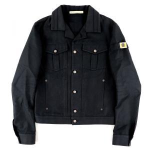 バレンシアガ BALENCIAGA ブラックデニムジャケット Gジャン ロゴワッペン メンズ 44 黒 美品【H4-4768】|opal-shop1