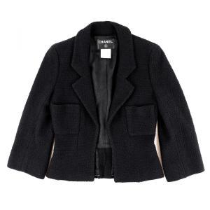 シャネル CHANEL 01A シングルツイードジャケット オープンフロント 裾チェーン レディース 38 黒【H2-4859】|opal-shop1
