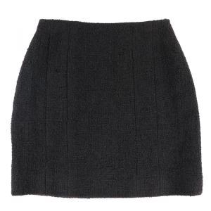 シャネル CHANEL 94A ヴィンテージ Vintage ウール台形スカート レディース 38 黒 美品【B3-4956】|opal-shop1