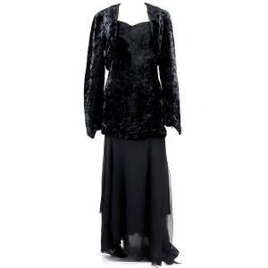 シャネル CHANEL 93A ヴィンテージ vintage ベロア×シルク アンサンブル ノースリーブワンピース ドレス 38 黒【G3-5036】|opal-shop1