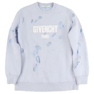 ジバンシー GIVENCHY デストロイド ロゴスウェットシャツ トレーナー ダメージ加工 ヴィンテージ S 水色 美品【H2-5112】|opal-shop1