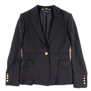 グッチ GUCCI 2012 ダブルカラー ストレッチ シングルジャケット ホースビット  レディース 36 黒 美品【E3-5153】|opal-shop1