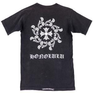 クロムハーツ CHROME HEARTS ホノルル限定 フラワーCHクロス クルーネック ポケットTシャツ メンズ S 黒【I2-5159】 opal-shop1