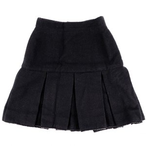 シャネル CHANEL 97A ヴィンテージ vintage プリーツミニスカート ウール ココマーク レディース 36 黒【G3-5204】|opal-shop1