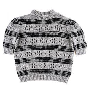 ミュウミュウ miumiu 2015 パフスリーブ ウールニットセーター 半袖 レディース 36 グレー×黒 未使用【G3-5206】 opal-shop1