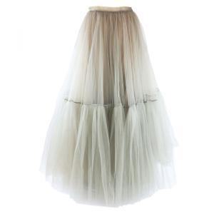 ディオール Dior 2019SS ブリーツチュールロングスカート レディース 34 カーキ系 美品【F3-5304】|opal-shop1