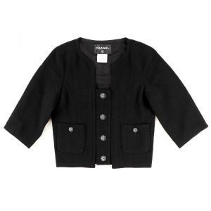 シャネル CHANEL 2014リゾートコレクション ノーカラーシングルジャケット ウール ココマークボタン レディース 34 黒【F3-5428】|opal-shop1
