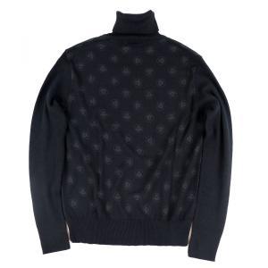 ヴェルサーチ VERSACE Jeans Coutureメデューサ柄 タートルネックニットセーター ウール メンズ S 黒 未使用【D2-5482】 opal-shop1