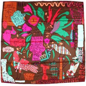 エルメス HERMES スカーフ カレ90 La Maison des Oiseaux Parleurs おしゃべりな鳥たちの家 シルク100% 茶系 新品同様【Z1-579】|opal-shop1