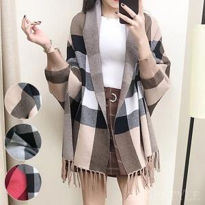 着るストール袖付き大判ショールポンチョストール風カーディガンチェック柄フリンジ羽織|open-clothes