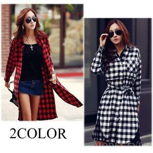 2カラーチェック柄ロングシャツ|open-clothes
