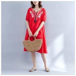 ワンピースチュニックレディース大きいサイズ半袖体型カバー着やせ半袖七分袖らくちん刺繍|open-clothes