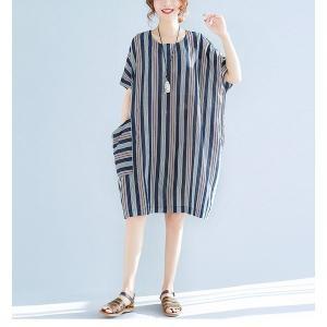 ワンピースシャツワンピースストライプ柄麻綿混紡ボーダーマリン風ボタンコットンリネン|open-clothes