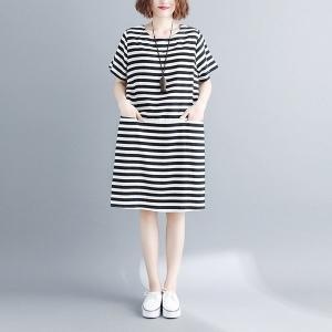 ワンピース体型カバー膝丈綿100%ボーダー無地七分袖コットンゆったり大きいサイズレディース|open-clothes