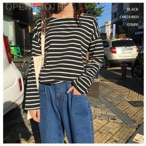 TシャツティーシャツボーダーTシャツストライプ柄長袖ボートネックゆるティーカットソー女性レディーストップスシンプル大きいサイズ open-clothes