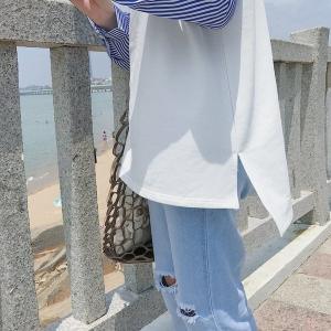 Tシャツカットソートップス体型カバー長袖レディースストライプブラウスシンプルカジュアル大人綺麗目 open-clothes