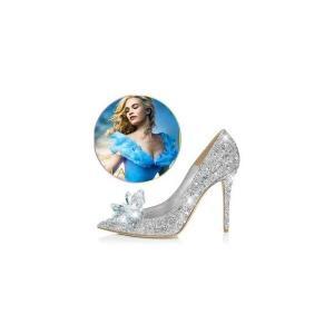 結婚式パンプスシンデレラガラスの靴キラキラウェディングシューズハイヒールレディースラインストーンパンプスパーティー演奏会舞台|open-clothes