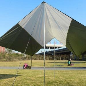 サイドポール付きヘキサタープ300*300cmヘキサゴンタープ日よけUVカット高耐水加工タープテントタープテント簡易テントアウト open-clothes
