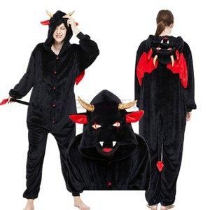 2020冬新作悪魔つなぎ着ぐるみパジャマ冬用暖かいもこもこメンズレディースキッズジュニアハロウィーン仮装コスプレ変装|open-clothes