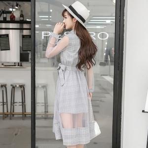 ワンピースレディースフレアシースルーチェックミディアムスカート大人可愛いガーリーグレーベージュピンク|open-clothes