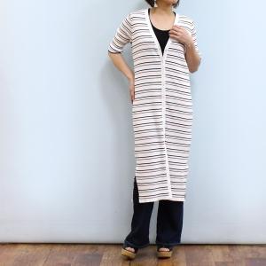 コットンリブのVネックロングカーディガン☆ 柔らかなコットン糸を使用し、程よい肉感のある生地感がポイ...