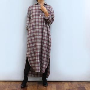 チェックロングシャツワンピース☆ 暖かみのあるコットンウールのフランネル素材を使用。 ノスタルジック...