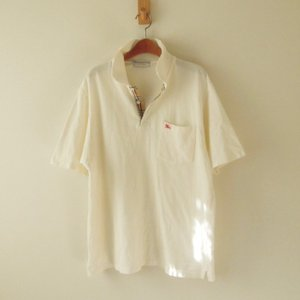 バーバリー ポロシャツ ノバチェック ポルトガル製 白 M(t-594)