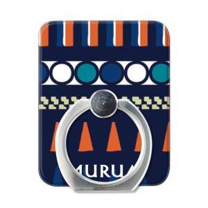 スマホリング スマートフォン リング ホールドリング スタンド MURUA(ムルーア)×Gizmobies/MULTICOLORTRIBAL NVY お取り寄せ|option