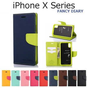 iPhone XS ケース iPhone XS Max ケース iPhone X ケース iPhoneXR ケース 手帳型 MERCURY FANCY DIARY ストラップ 耐衝撃|option