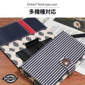 お取り寄せ Dickies Book type case ヒッコリー・デニム ケース カバー 汎用ケース マルチケース スマホケース 手帳型 多機種対応 option