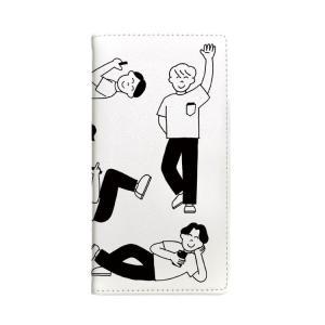 iPhoneケース わかる マルチ対応 xperia galaxy ケース 手帳型 Gizmobies たくさんの人 ホワイト お取り寄せ option