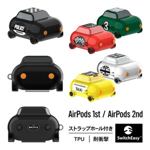 AirPods ケース クリア ミニカー おもしろ デザイン ソフト 透明 カバー AirPods1...