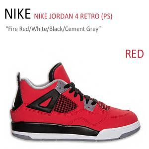 NIKE JORDAN 4 RETRO PS/Fire Red/White/Black/Cement...