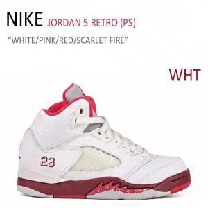 NIKE JORDAN 5 RETRO PS/WHITE/PINK/RED/SCARLED FIRE...